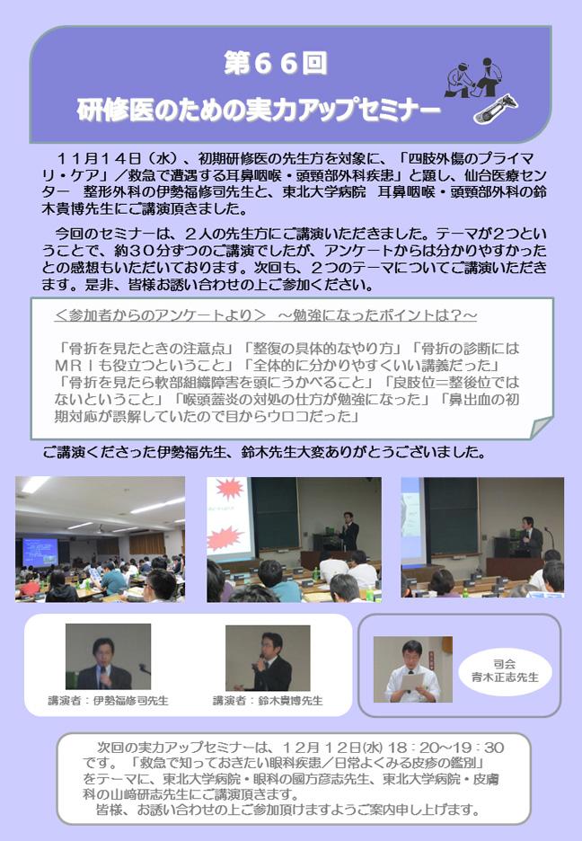 第66回研修医のための実力アップセミナーが開催されました