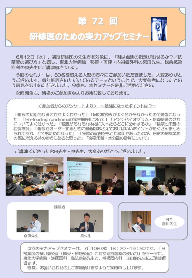 第72回研修医のための実力アップセミナーが開催されました